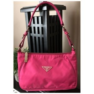 Auth PRADA HOT PINK Tessuto Saffiano Shoulder Bag